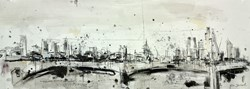 St Pauls and Waterloo Bridge III by Tim Steward - Original Drawing, Paper on Board sized 43x16 inches. Available from Whitewall Galleries