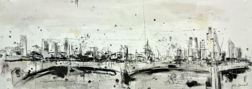 St Pauls and Waterloo Bridge III by Tim Steward - Original Drawing, Paper on Board